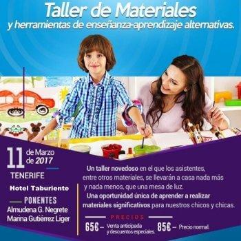 Cartel taller materiales en Hotel Taburiente