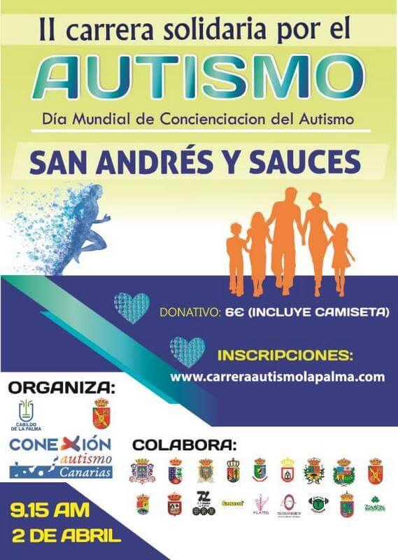 Cartel II carrera por el Autismo en La Palma